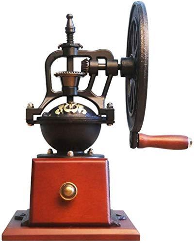 TEHWDE Huishoudelijke Koffiemachine, Handmatige Koffiemolen Antieke Gietijzer Retro Koffiebonen Grote Wiel Hand Crank Molen Perfect voor Thuis, Kantoor en Reizen