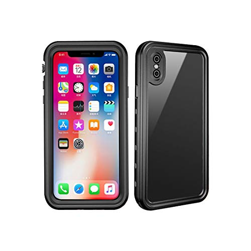 Red Pepper for iPhone XS Waterproof Case for iPhone X Full Sealed Shockproof Cover Pouch Shell with IP68 Certified Clear 5.8 inch (Black)