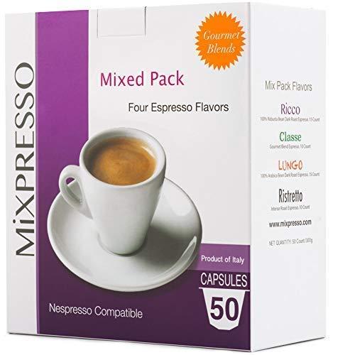 Mixpresso Variety Pack Single Serve Espresso Coffee Pod Capsules for Nespresso OriginalLine Machines, 100% Italian Coffee, 50 Ct. Coffee Capsules