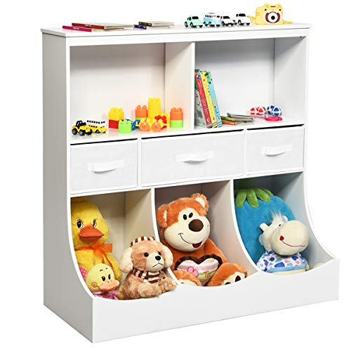 Costzon 3-Tier Kids Bookcase Toddler Storage Organizer Cabinet Shelf w/ 8 Compartment Box and 3 Removable Drawers for Children, Freestanding Storage Unit for Bedroom Decor Room (White)
