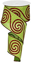 Swirl Christmas Ribbon: Red and Lime Green 2.5