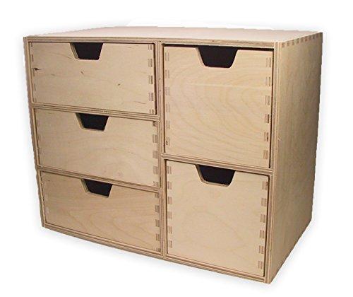 MidaCreativ Schubladen-Regal, Schubladen-Kommode, mit 5 Schubladen, Holz unbehandelt