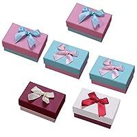 ibasenice リボンボウリングネックレス、イヤリング、記念日、結婚式、誕生日のためのブレスレットギフトボックス付き6個のジュエリーギフトボックス