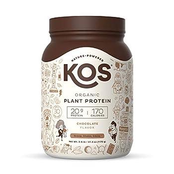 KOS Organic Plant Based Protein Powder Chocolate - Delicious Vegan Protein Powder - Keto Friendly Gluten Free Dairy Free & Soy Free - 2.6 Pounds 30 Servings