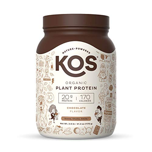 KOS Organic Plant Based Protein Powder, Chocolate - Delicious Vegan Protein Powder - Keto Friendly, Gluten Free, Dairy Free & Soy Free - 2.6 Pounds, 30 Servings