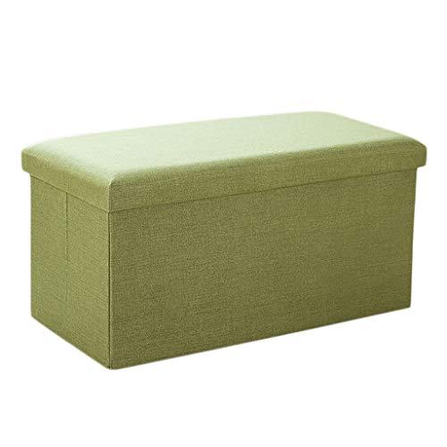 Ottoman Wddwarmhome Ménage Pliable Art Chiffon Tabouret de Rangement -76 * 38 * 38cm - Capacité de Charge Maximale 150kg - Facile à Nettoyer (Couleur : Green)