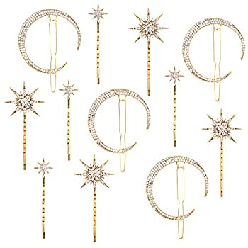 Hedume 12 Pack Stars and Moon Hair Clips Vintage Rhinestone Hair Pin Metal Alloy Diamond-studded Hair Accessories for Women Girls