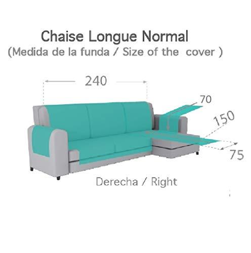 Textilhome - Copridivano Salvadivano Chaise Longe Adele - Color Grey -BRACCIOLO Destro - Protezione per divani Imbottiti - Dimencione 240cm -(Visto di Fronte).