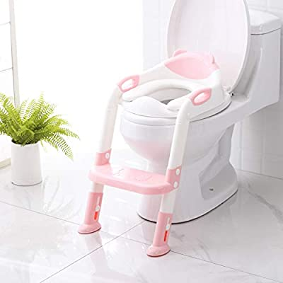 Potty Training Seat with Step Stool Ladder,SKYROKU Potty Training Toilet for Kids Boys Girls Toddlers-Comfortable Safe Potty Seat with Anti-slip Pads Ladder (Pink) from SKYROKU