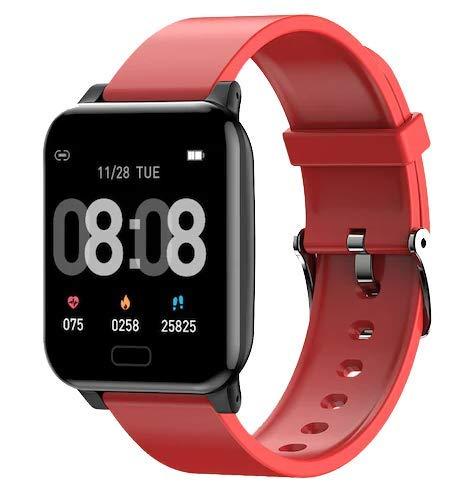 INDYGO L8 Pulsera Inteligente IP67 Reloj Banda Inteligente con Medición de la Piel y Tlemperatura Corporal Ritmo Cardíaco Rojo