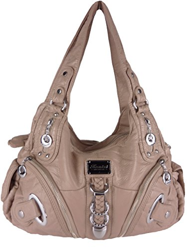 Kumixi KM1629 Damenhandtasche Fächer Langer Trageriemen 40x20x13cm (Beige Taupe)