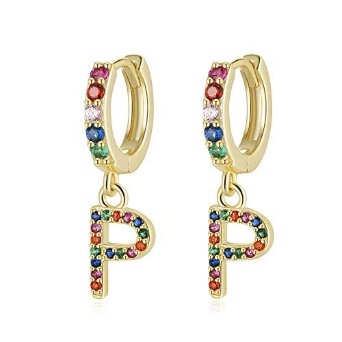 Qings Creolen Ohrringe 925 Sterling Silber mit Buchstaben Anhänger Baumeln Vergoldete Ohrringe Creolen