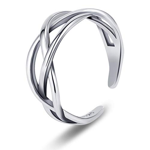 Popuppe Solid 925 Sterling Silver Ring for Women, Vintage Adjustable Silver Thumb Ring, Unisex Resizable Celtic Knot Infinity Open Finger Rings for Women Men Boys Girls