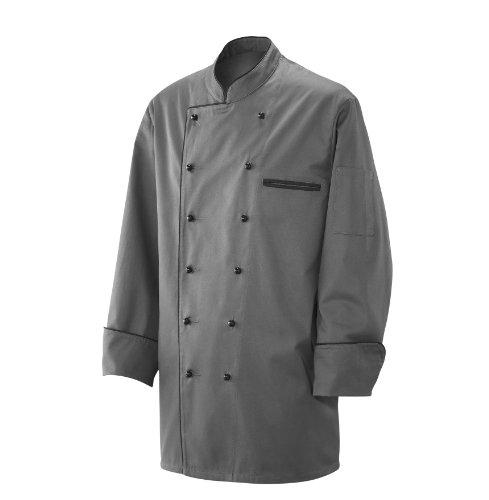 Kochjacke Bäckerjacke Jacke Langarm Silbergrau mit schwarzem Paspel Gr. 2XL 35% Baumwolle, 65% Polyester 220gr.