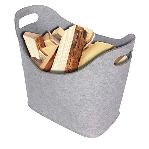 Panier à bûches en feutre Ora -Tec - Dimensions : 45 x 24 x 40 cm - Pour le bois de cheminée et de combustion, gris