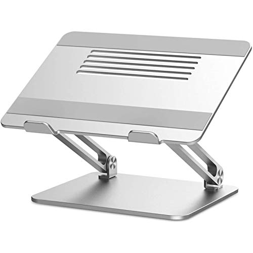 Laptop Stand, Multi-Angle Laptop Riser with Heat-Vent, Adjustable Notebook Stand Compatible for Laptop (11-17 inches) including MacBook Pro/Air, Lenovo, Samsung, HP -Silver