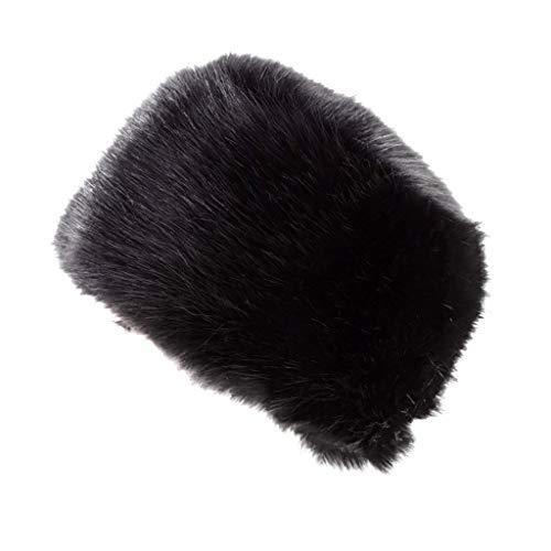 UJUNAOR Adult Women Men Winter Earmuffs Faux Fur Hats Warm Cap Black