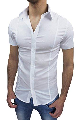 AK collezioni Camicia Uomo Slim Fit Bianca Aderente Elasticizzata Manica Corta Casual (L)
