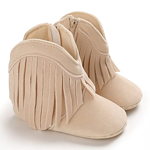 FEXATAR Crib Shoes Girl Baby Shoes Infant Side Zipper Cotton Sole Solid Color Fringed Boots Prewalker (Off white B017,12 Months)