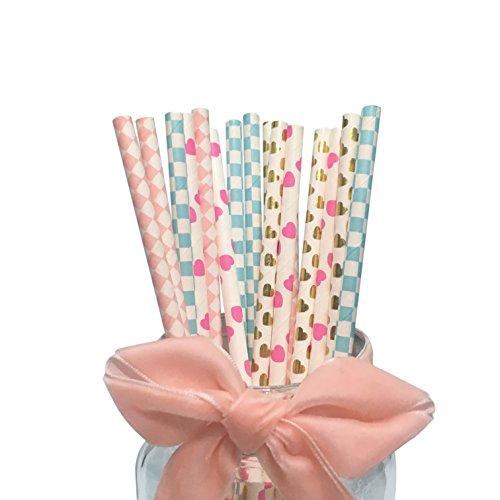 100 cannucce in carta colorate, 19,7 cm, motivi cuori rosa, cuori dorati, quadretti celesti, rombi rosa