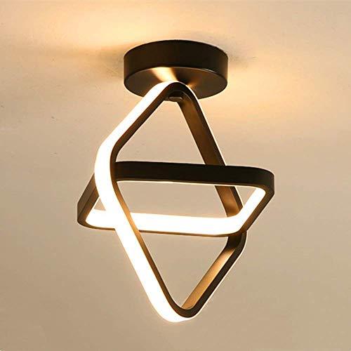 Goeco Moderna Lámpara techo, LED Chandelier 22W, para Armario Pasillo Balcón, Luz blanca cálida 3000K, negro