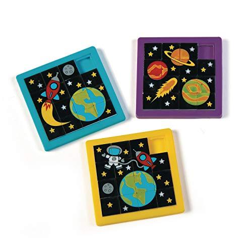 cama24com Weltraum Space Puzzle Schiebepuzzle 12 Stück Mitgebsel Gastgeschenke mit Palandi® Sticker