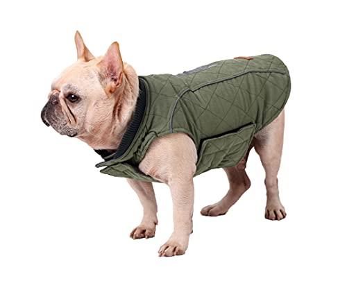 Hundemantel Winter Warme Jacke Weste, 7 Größen für Kleine Mittlere Große und Riesige Hunde, Winddicht Schneeanzug Hundekleidung Outfit Weste Haustiere Bekleidung (S, GRÜN)