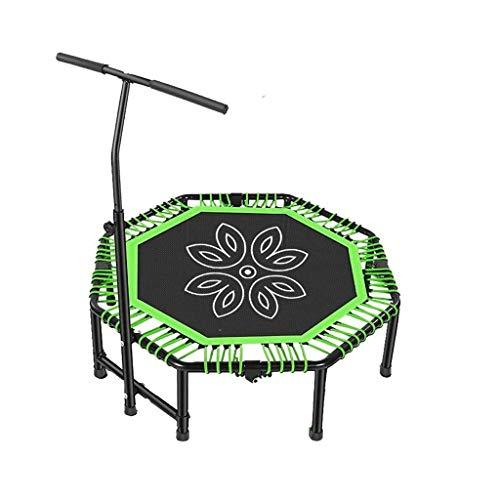 YDHWY Faltbare 48' Mini-Trampolin Rebounder, Rebounder Trampolin Übung Fitness-Trampolin mit einstellbarem Handlauf for Erwachsene Kinder (Color : Green)