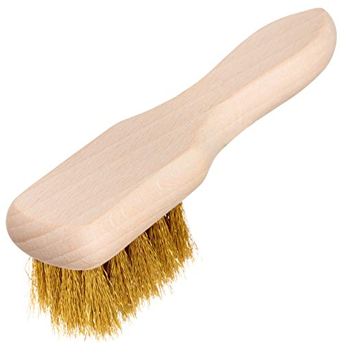 REDECKER Brass Suede Brush with Untreated Beechwood Handle, 4-3/4-Inches