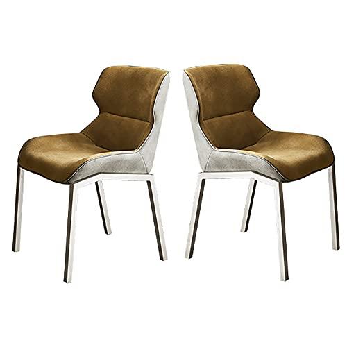 Juego de 2 sillas de comedor con patas de metal para sala de estar, sillas de cocina sin reposabrazos para cocina, hogar, 1