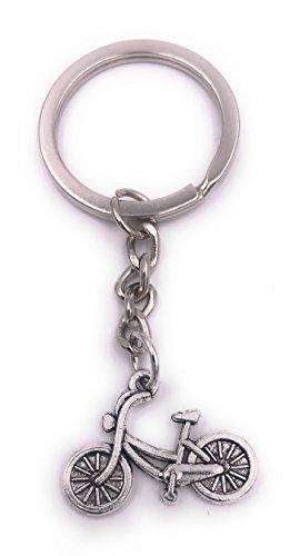 H-Customs Fahrrad Damenrad klein Schlüsselanhänger Anhänger Silber aus Metall