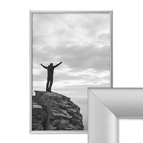 PHOTOLINI Alu-Bilderrahmen 30x42 cm/DIN A3 Aluminium-Rahmen Silber Matt mit Glasscheibe inkl. Zubehör