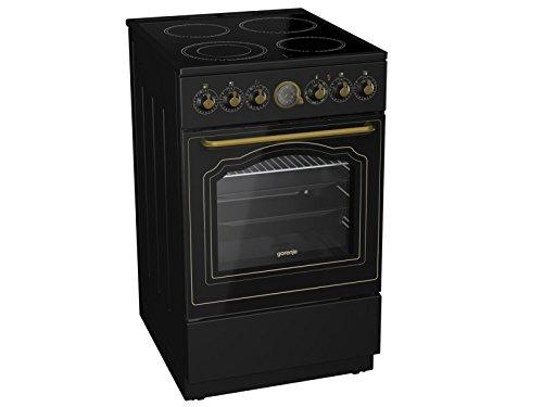 Gorenje, EC 52 CLB Classico, staand fornuis, mat-zwart, nostalgische oven, kookplaat