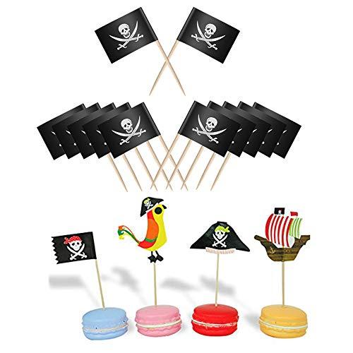Oumezon 100 stücke Pirate Kuchen Topper Cupcake Picks Deko Kuchendekoration Pirate Kuchendeko für Kinder Geburtstag Party Cocktail Zahnstocher Flaggen Kuchen Topper Piraten Party