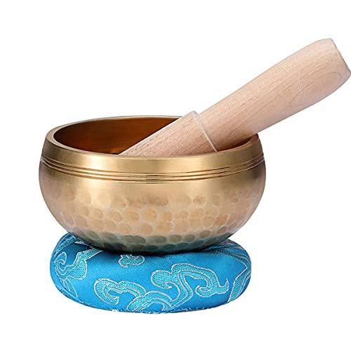 KOQIO Juego de cuencos de meditación para yoga, de 10 cm, hecho a mano, con mazo de madera y cojín de meditación, 8 cm