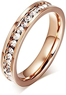 Fashion Classic Stainless Steel 18K Rose Gold Rings Single-row Diamond Rings Womens Jewelry Size US6
