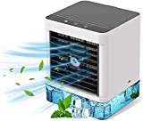 Mini Enfriador de Aire, Aire Acondicionado Portátil, USB Mini Aire Acondicionado con 3 Velocidades y 600ML Tanque De Agua, Ideal Para Oficina/PequeñAs Habitaciones/Hogar/Caravana