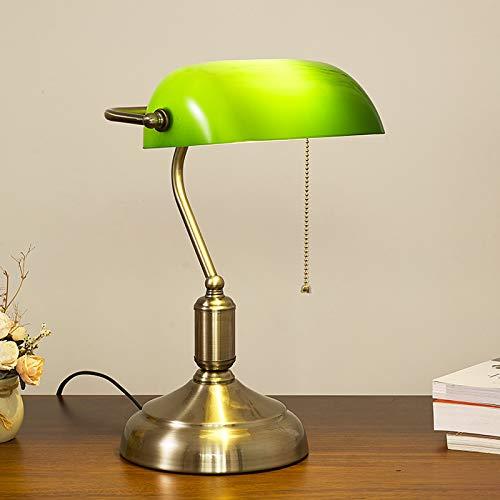 HMAKGG Vintage Verde Lámpara de Banquero, Metal Antiguo Lámpara de Escritorio de Banquero, Dormitorio Lámparas de Lectura, Ajustable Pantalla de Cristal, con Interruptor, E27