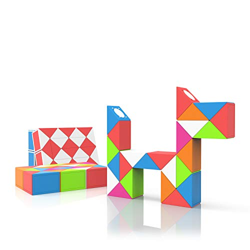 ROXENDA Magic Snake con 24 Segmentos, 3D Magic Snake Cube - Puzzle Games IQ Toy para Niños y Adultos - 1 Paquete (Arcoíris, 24 Segmentos)