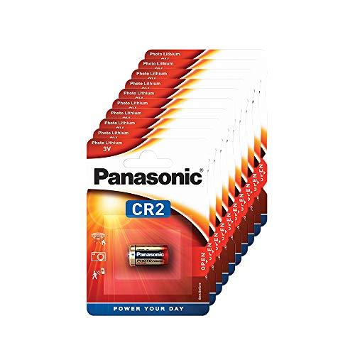 Panasonic CR2 zylindrische Lithium-Batterie für leichte Geräte mit hohem Energiebedarf wie Rauchmelder, Alarmanlage, Stirnplampe, Kameras, 3V, 10 Packungen (10 Stück)
