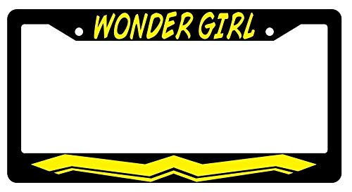 License Plate Frames, Wonder Girl (DESIGN 2) Black Metal License Plate Frame Auto Accessory DC Applicable to Standard car Unisex-Adult Car Licenses Plate Covers Holders Frames for Plates 15x30cm