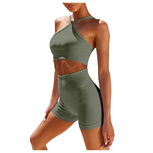 Jushye Women's Workout 2 Piece Outfits High Waist Running Shorts Seamless Gym Yoga Halter Crop Top Bra Sets