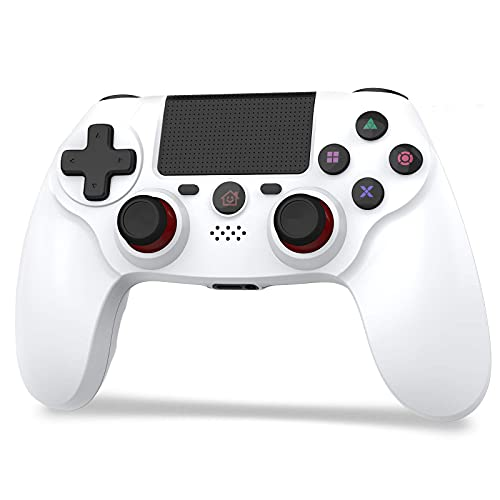 「2021 FPS改良」JOYSKY PS4 コントローラー 無線 最新バージョン Bluetooth リンク遅延なし 600mAh ジャイロセンサー機能 イヤホンジャック ゲームパット 搭載 高耐久ボタン 二重振動 日本語取扱説明書 PS3 コントローラー(White)