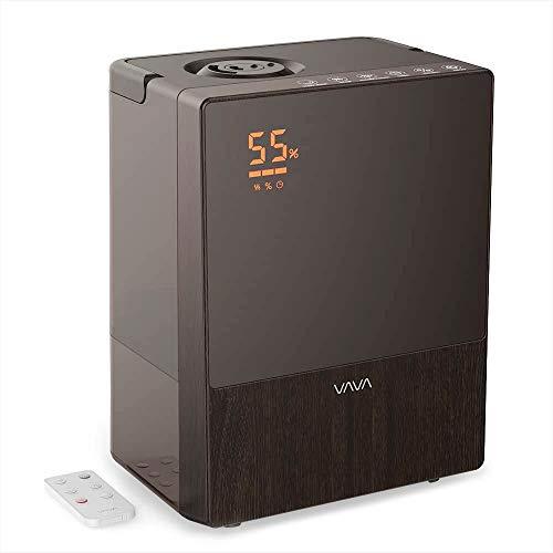 Humidificador ultrasónico de vapor caliente/frío, 5 L, con mando a distancia y monitor de humedad, boquillas de vapor giratorias 360°, modo automático, modo de sueño para bebés y dormitorios