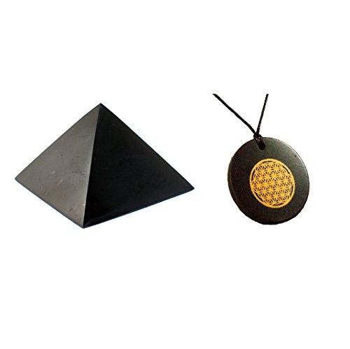 MyHomeLux Schungit Set Schungit Pyramide 5 cm + Schungit Anhänger Blume des Lebens Halsband Anhänger Schmuck authentische Steine aus Karelien