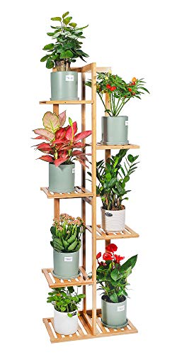 Bamboo Plant Stand Rack 6 Tier 7 Potted Indoor&Outdoor Multiple Stand Holder Shelf Rack Planter Display for Patio Garden, Living Room, Corner Balcony and Bedroom (7 Flowerpots)