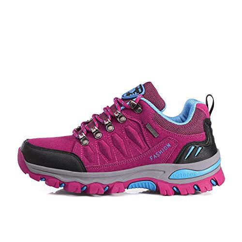 Men's and Women's Sports Shoes,Zapatillas con Suela pisada,Zapatos para Caminar al Aire Libre Zapatos para Caminar de Gran tamaño Calzado Deportivo-Rosa Red_42#