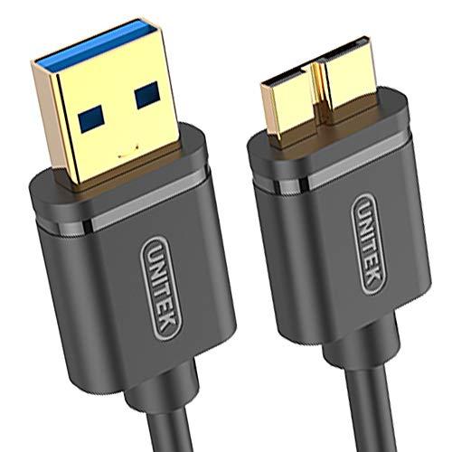 UNITEK - Cavo USB Micro USB 3.1 Gen 1 m, 5 Gbit/s, scambio rapido dei dati, USB HDD, cavo dati, cavo di ricarica, USB A maschio a Micro B, nero