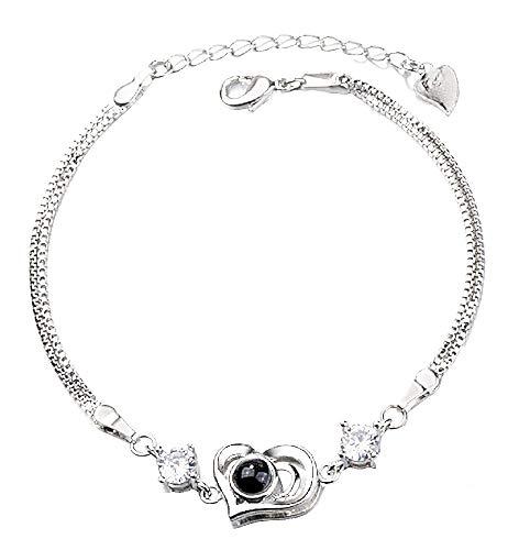 Inception Pro Infinite - Damenarmband - Armband für Frauen - Damen Armband - Herz - Projektor - Herzarmband - Objektiv - Projekte - Satz - 100 Verschiedene sprachen - Silberne Farbe