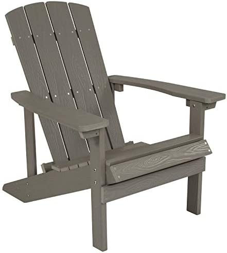 Best Flash Furniture Charlestown All-Weather Adirondack Chair in Light Gray Faux Wood